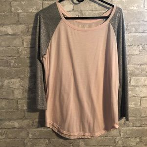 Pink and silver fitted baseball tee